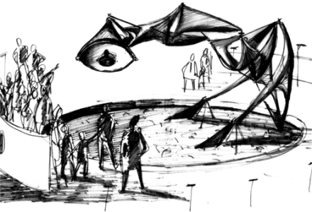 Senster drawing by Edward Ihnatowicz (1969-1970)